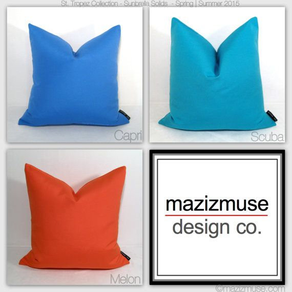 solid sunbrella pillows mazizmuse modern color block pillow in a palette inspired by seaside - Sunbrella Pillows