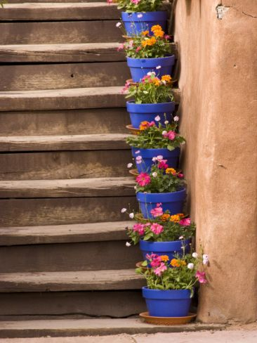 Staircase Decorated with Flower Pots, Santa Fe, New Mexico