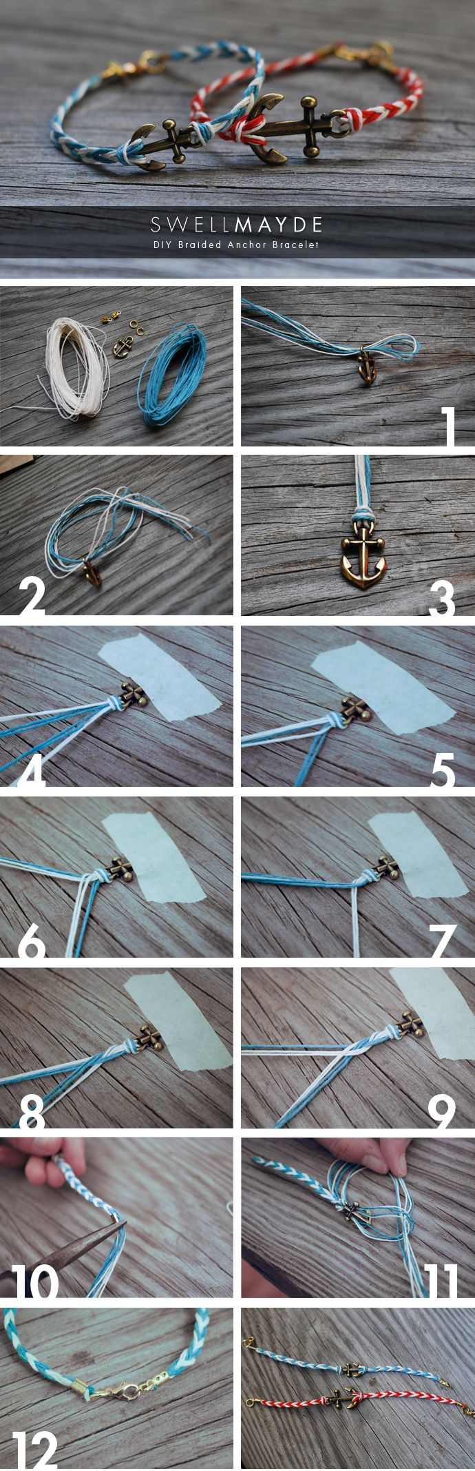 DIY Fishtail Braided Anchor Bracelet