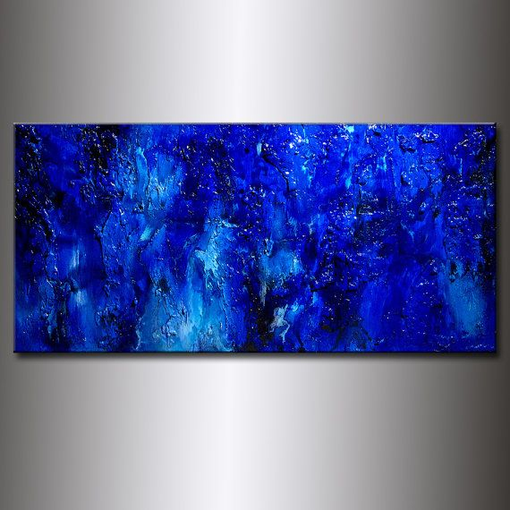 Original Textured Blue Abstract Painting Huge by newwaveartgallery