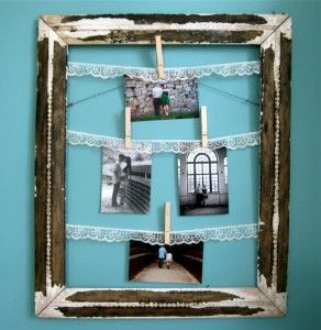 Clothes Pin Frame on Blue Wall 292x300 Crafty Project: Vintage Clothes Pin Frame