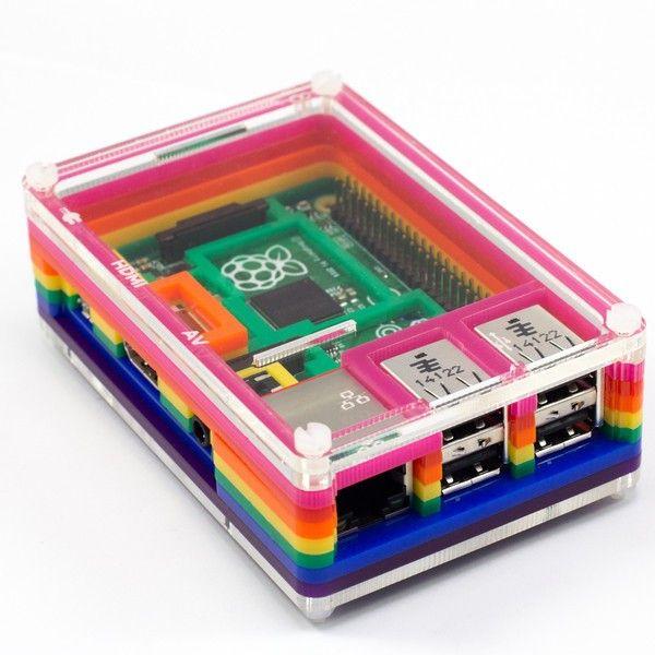 Krabička PIBOW Rainbow pro B+ a RPi2 - RPiShop.cz