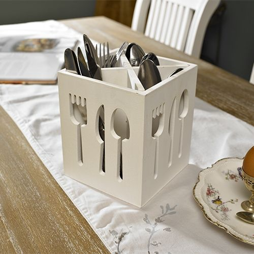 White Wooden Cutlery Holder - Melody Maison®White Wooden Cutlery Holder. Square design cutlery holder with cut of detailing. There are four separate compartments to hold your knives, forks and spoons. Measures 18 cm high x 15 cm wide