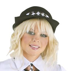 Description:   Button up dress with Your Busted on the chest, short sleeve Police hat, hair bobbles, collar and neck tie and silver effect plastic hand…