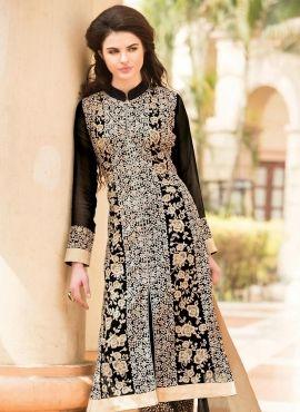 Black designer punjabi wedding suit in georgette