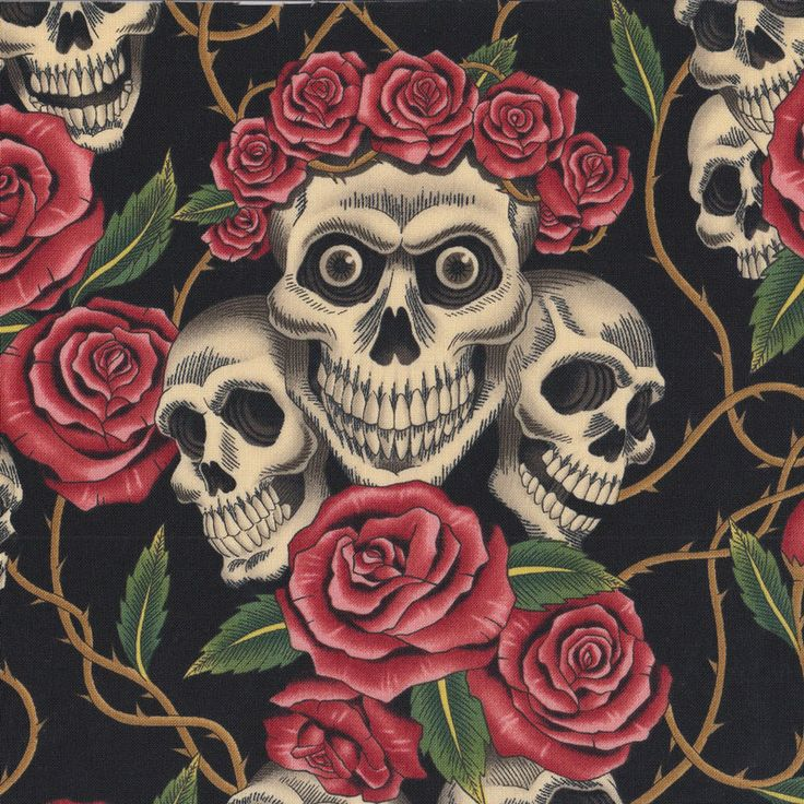 Skulls and Roses on Black Quilt Fabric - Find a Fabric - Available to purchase in Fat Quarters, Half Metre, 3/4 Metre, 1 Metre and so on.