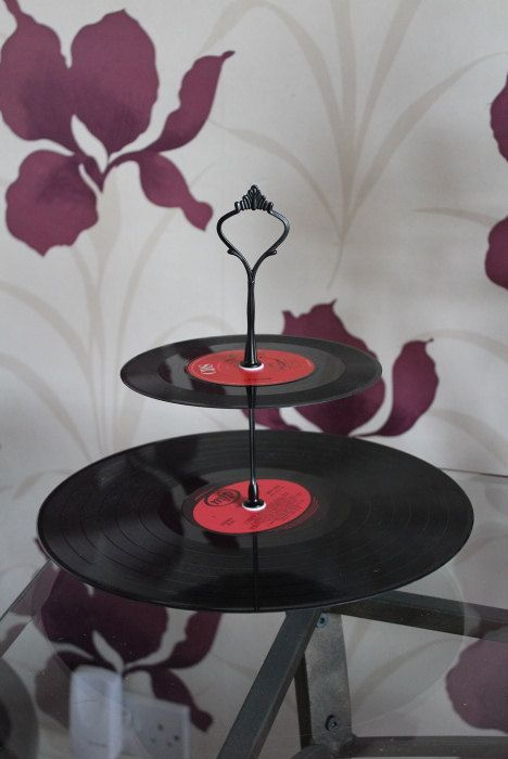 Retro 2 tier cake stand. Vintage vinyl record  up-cycled cake or jewellery stand, unique gift for retro, kitsch lover - pinned by pin4etsy.com
