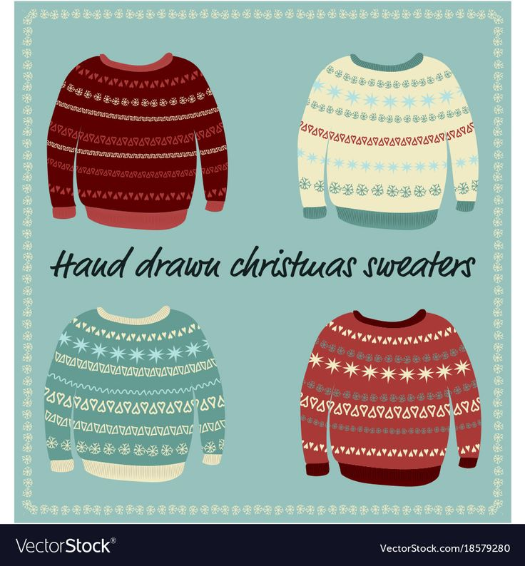 A set of hand drawn sweaters with knittet patterns. Download a Free Preview or High Quality Adobe Illustrator Ai, EPS, PDF and High Resolution JPEG versions.