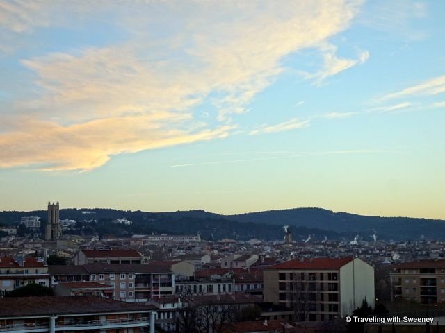 TOP THINGS TO DO IN AIX .Early morning view of Aix-en-Provence from our room at the Renaissance Hotel.