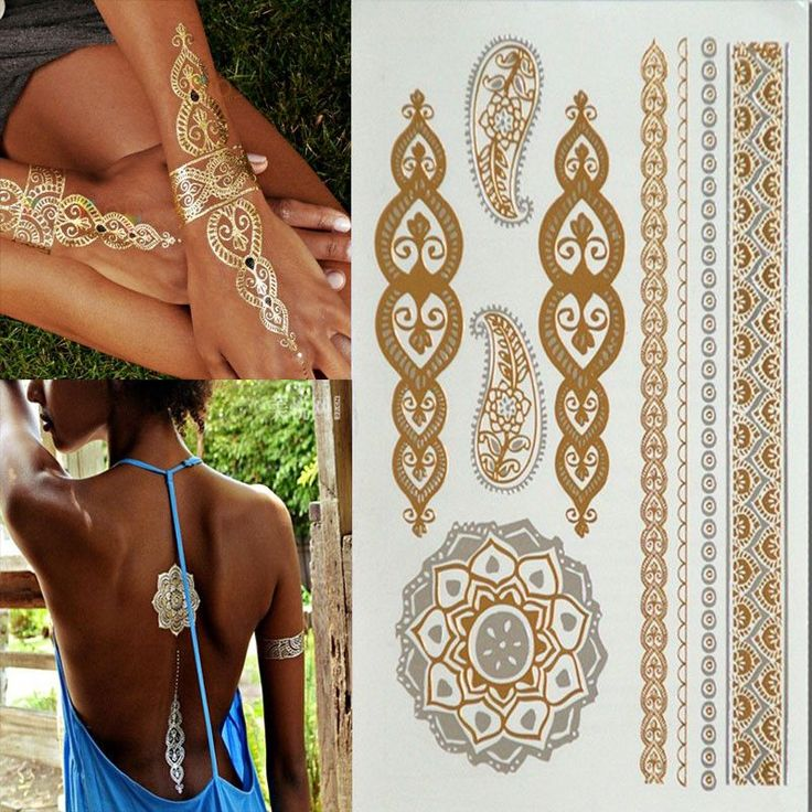 gold tattoo sex products necklace bracelets tattoo metal temporary tattoo women flash metalic fake gold silver tattoos