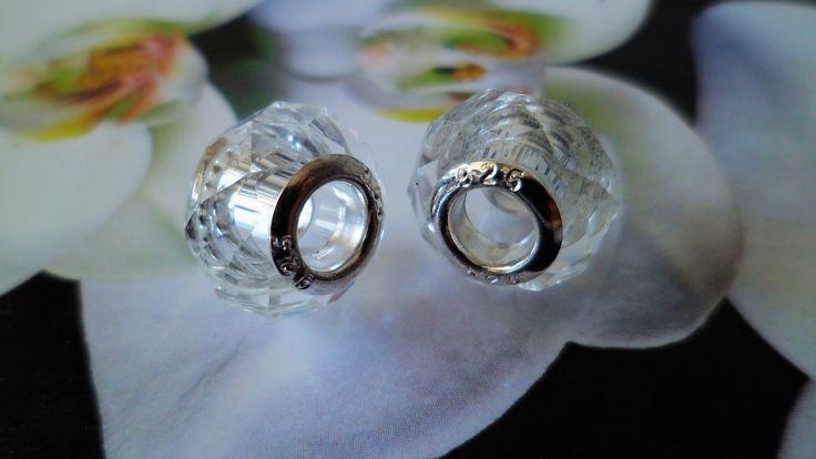 2 Perles Transparent Cristal à Facettes 14 mm : Perles en Cristal, Swarovski® par sidone