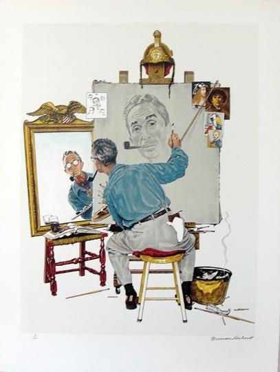 Norman Rockwell, Triple autoportrait (1960)  Lithographie originale