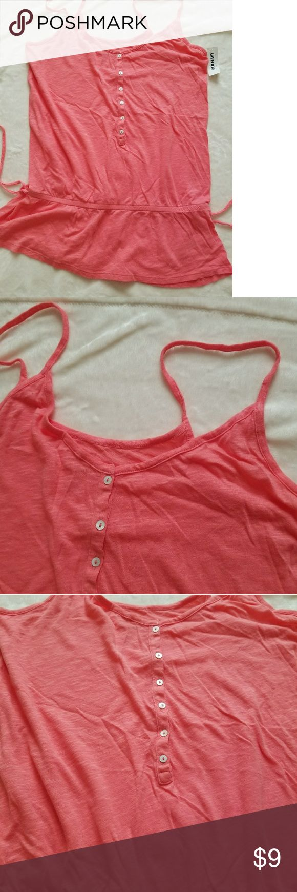 Old Navy Drawstring Cami This pretty pink cami is great for layering, looks great with shorts, 60%Cotton, 40%Modal blend, straps are NOT adjustable. Fabric is soft and sheer, perfect for hot summery months. Drawstring cannot be pulled to cinch but can be tied into a bow. Old Navy Tops Camisoles