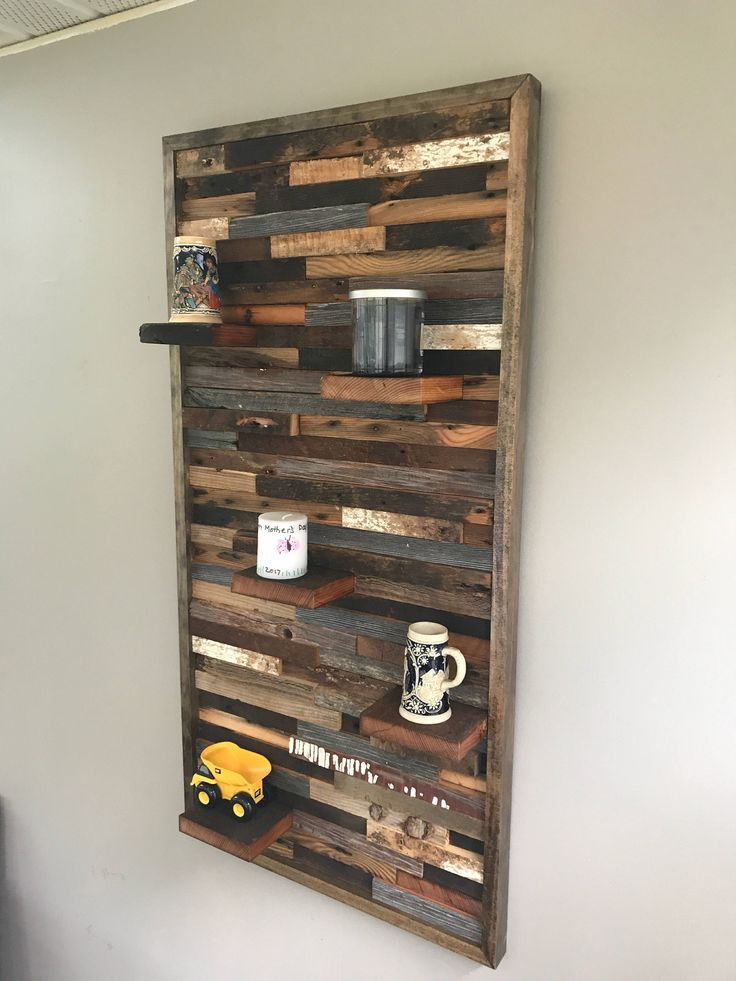 Rustic Wall Art With Shelves Handmade Of  Reclaimed Barn Wood, Rustic Wall Decor,  Wood Wall Art,  Wall Sculpture, Barn Wood by TheRocDesigns on Etsy https://www.etsy.com/listing/534587428/rustic-wall-art-with-shelves-handmade-of