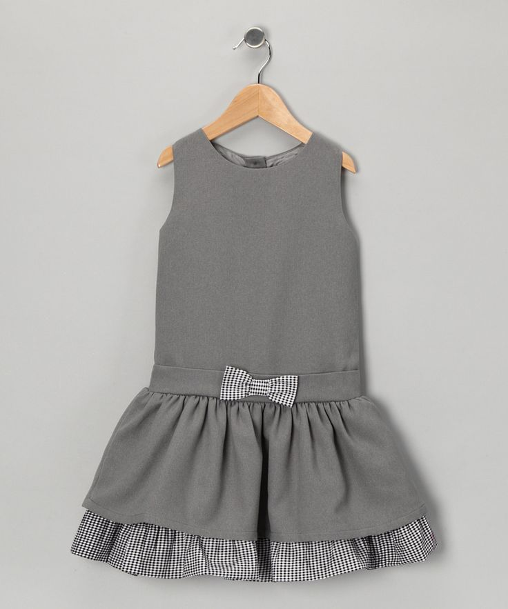 Gray Gingham Bow Dress  - Infant, Toddler & Girls. Simple and perfect for school.