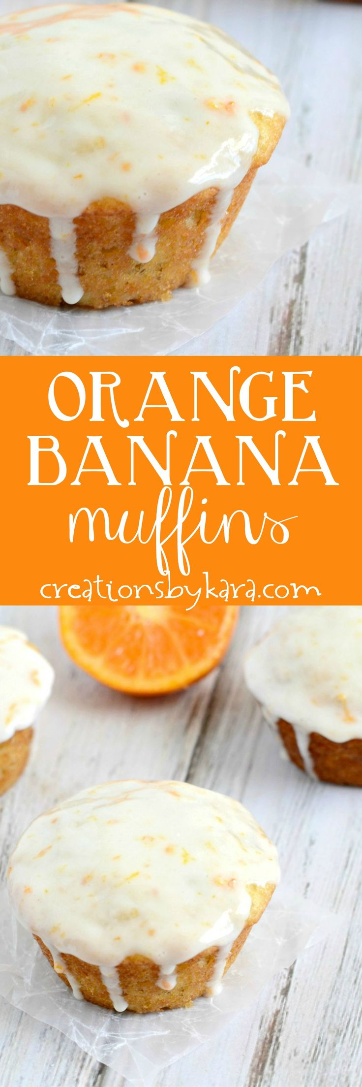 Orange Banana Muffins with Sour Cream Glaze - these banana muffins are far from boring! You will love this muffin recipe.  via @creationsbykara.com