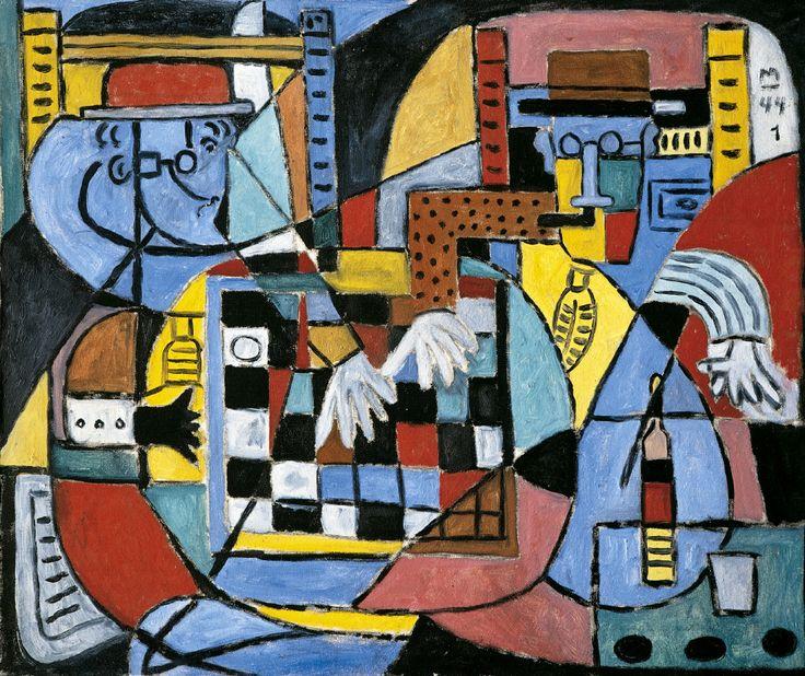 1944, Francisco Matto (Mvd, UY 1911-1995): Juego de damas. Oleo sobre tela 90x75.5cm. Colección privada, París.