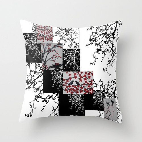 black red and white art bird birds tree trees of life by SuchFlair