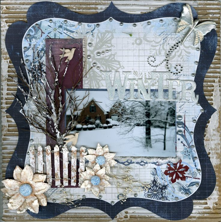Beautiful winter layout - build the picture into the background of the paper…