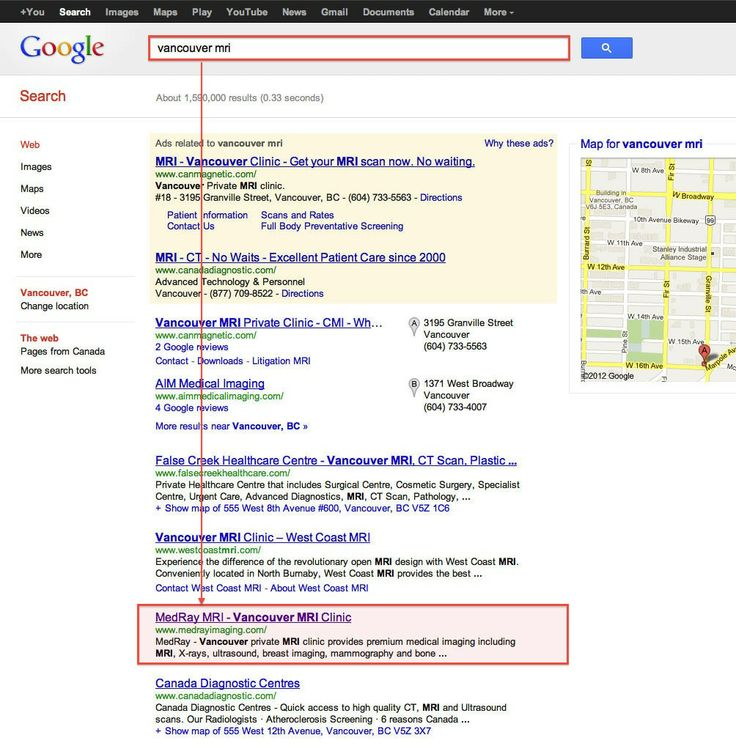 """Our organic #SEO project results. """"Vancouver MRI"""" & google search engine position. Check out more information about our: <a href=""""http://www.vandesign.ca/seo/"""">Search Engine Optimization (SEO)</a> services #searchengineoptimization #searchmarketing #digitalmarketing"""