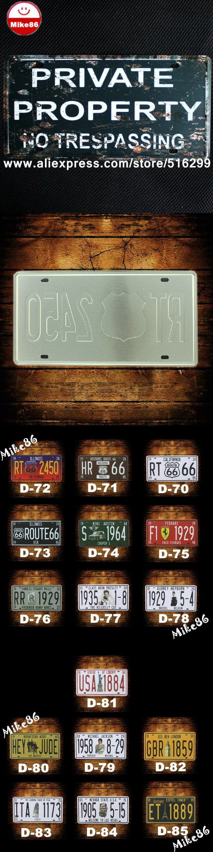 [ Mike86 ] Private Propfrty NO TRESPASSING License Plates Vintage bar decoration Metal signs D-245 Mix order 30*15 CM $14.99