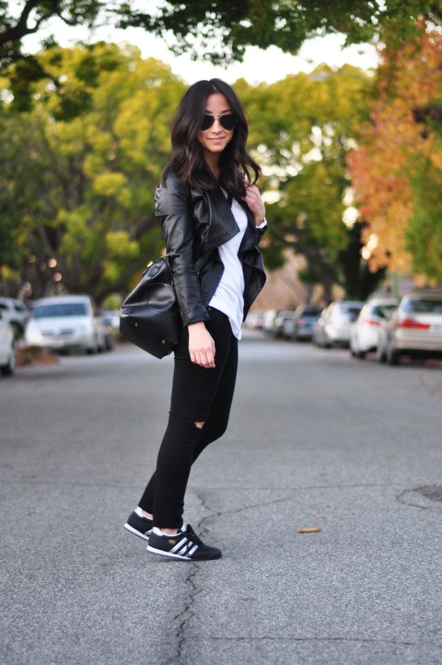 Leather Jacket with Tennis Shoes