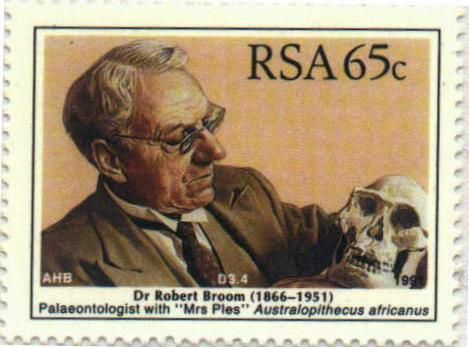 "South Africa, 1991 | Dr. Robert Broom (1866-1951) Paleontologist with ""Mrs Ples"" Australopithecus africanus | 65c"