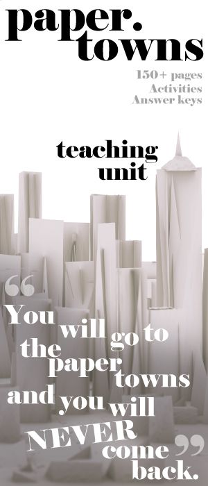An illuminating teaching unit for John Green's young adult novel Paper Towns. 150+ pages of activities that are sure to engage middle school students and high school English students. Plot, Conflict, Characters, Writing Journals, Pop Quizzes, Vocabulary, Figurative Language, Activities, Poem Analysis, Essay lesson plans by Created for Learning