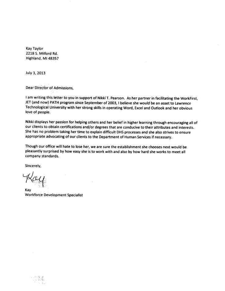 27 best Letters of recommendation images on Pinterest Letter - letter of recommendation for college