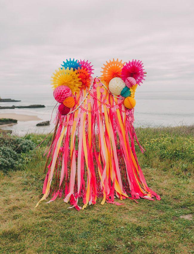 colorful paper fan ribbon backdrop