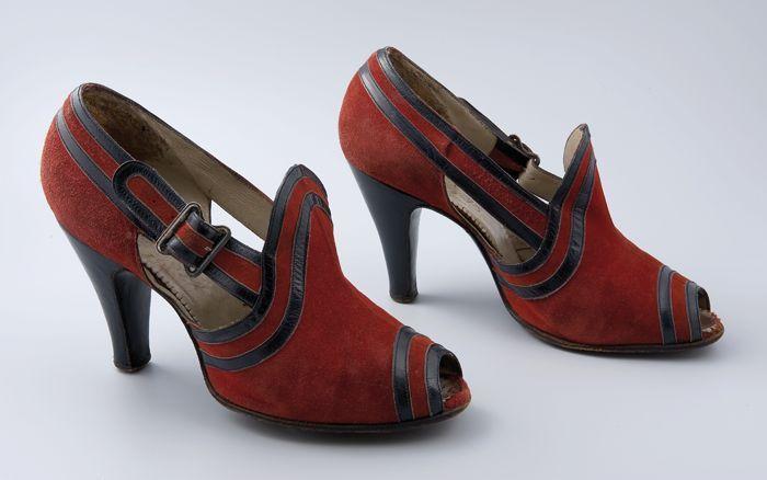 Heels, 1938-1940, leather, metal, suede, Museum Rotterdam