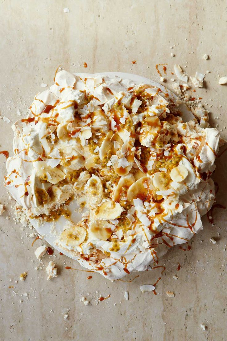 Passion fruit lifts the sweet combination of banana, meringue and caramel in this crowd-pleasing dessert recipe.