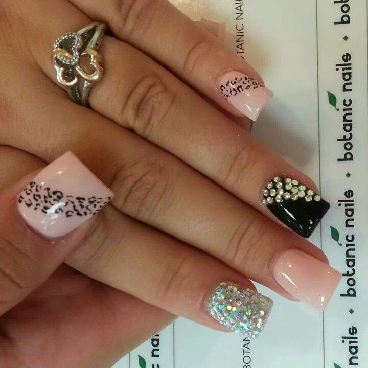 cheetah nails - Top 25+ Best Rhinestone Nail Designs Ideas On Pinterest Coffin