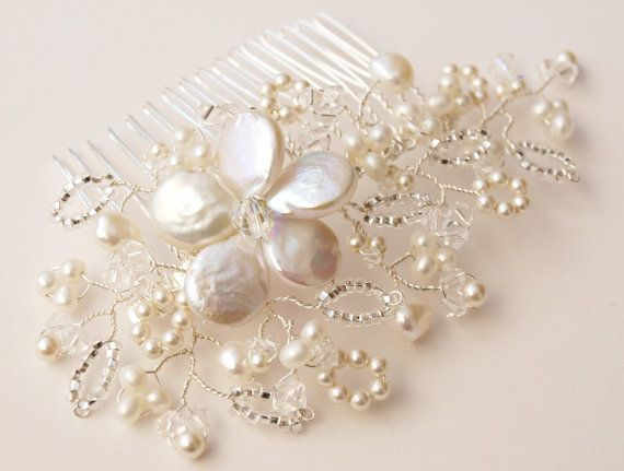 Pearl Hair Comb Antique Lace Beaded Freshwater Pearl and Swarovski Crystal Bridal Hair Accessories Wedding Bridesmaids Accessories Ivory