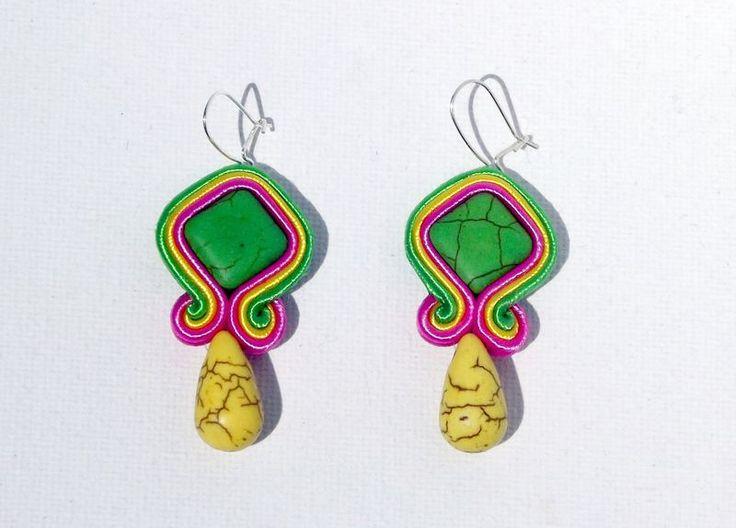 Chandelier Earrings – LEMONGRASS Soutache earrings – a unique product by betulek on DaWanda #earrings #kolczyki #soutache #art #jewelry #jewellery #gift #beauty #fashion #style #quality #trendy #handmade #instagood #reiki #handmadejewelry #buyhandmade #earings #betulek #bybetulek #jewel #look
