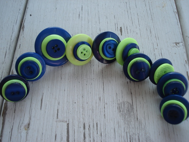 Navy Blue and Lime Vintage Buttons Push Pins thumb Tacks Set of 10 ...
