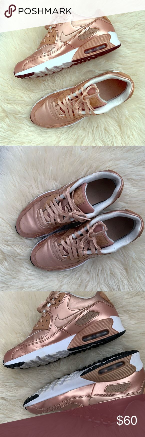 Rose Gold Metallic Air Max 90 Worn but well taken care of. I always received a l…