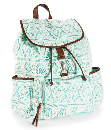 "Stretch out the walk to class for as long as possible -- ya gotta flaunt our cool Crochet Backpack! It's designed with a zippered front pocket and two open side pouches; the roomy cinch-top interior even secures with a metal clasp flap so your belongings won't fly out. A cute crochet overlay adds a charming touch.<br><br>W 13"" x H 14"" x D 6.5""<br>Two adjustable back straps.<br>Style: 7356. Imported.<br><br>Cotton canvas with faux leather trim."