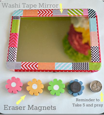 This easy dollar store mirror screams DIY!!   But flower erasers and add adhesive magnets to the back for a perfect and affordable magnet solution for your locker.
