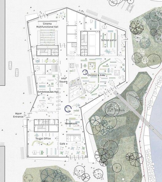 New Culture Centre and Library Winning Proposal / schmidt hammer lassen architects,ground floor plan