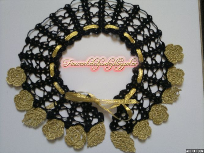 Black and gold crochet necklace http://www.finecrochetedjewelry.blogspot.ro/