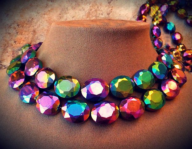 CZECH GLASS Rainbow Prism Color Statement Gem NECKLACE BRIDAL PAGEANT Jewelry  | Jewelry & Watches, Handcrafted, Artisan Jewelry, Necklaces & Pendants | eBay!