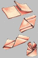 How to fold napkins for the holidays or a fancy dinner. Napkin-folding diagram.