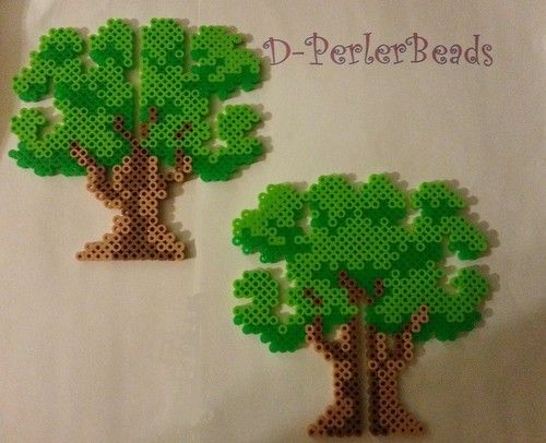 3D Earth Day Tree Perler Bead Sprite ornament by  dperlerbeads