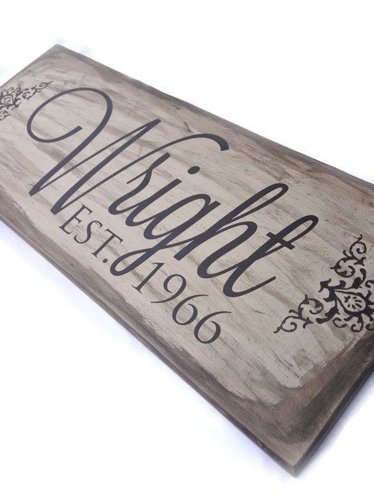Custom Last Name Sign, Established Name Sign, Family Name Sign, Beige & Tan, Handpainted Wooden Sign