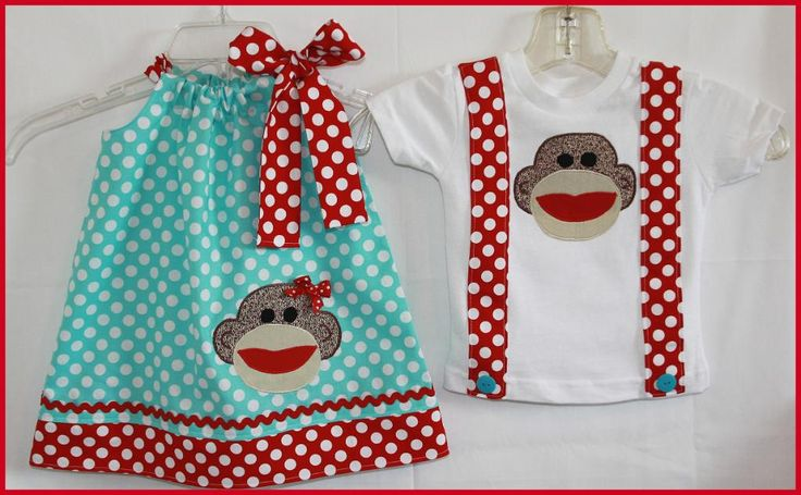 Sock Monkey Brother Sister Set :)Sets Dresses, Brother Sisters, Sock Monkeys, Monkeys Brother, Socks Monkeys, Twin Sets, Red Appliques, Red Socks, Suspenders Tees