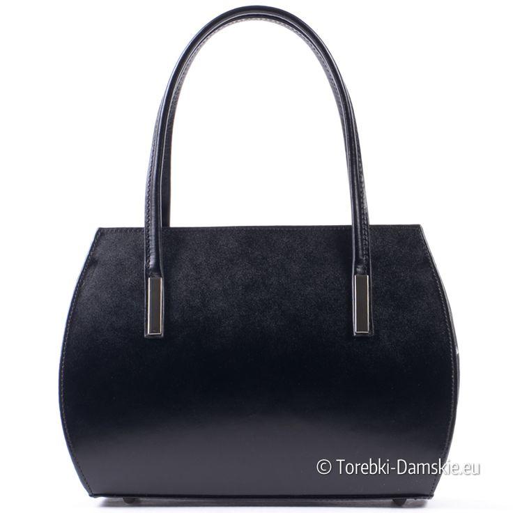 Czarna torebka damska ze skóry licowej, elegancki zgrabny kuferek średniej wielkości Sprawdź promocyjną cenę -> http://torebki-damskie.eu/czarne/1584-elegancki-czarny-maly-kuferek-skorzany.html