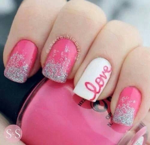 These nails are totally my style! This pink that this person used goes great with the silver shimmer and white nail! The love expresses this persons creative abilities! It shows expression! Which is what nail art is all about!