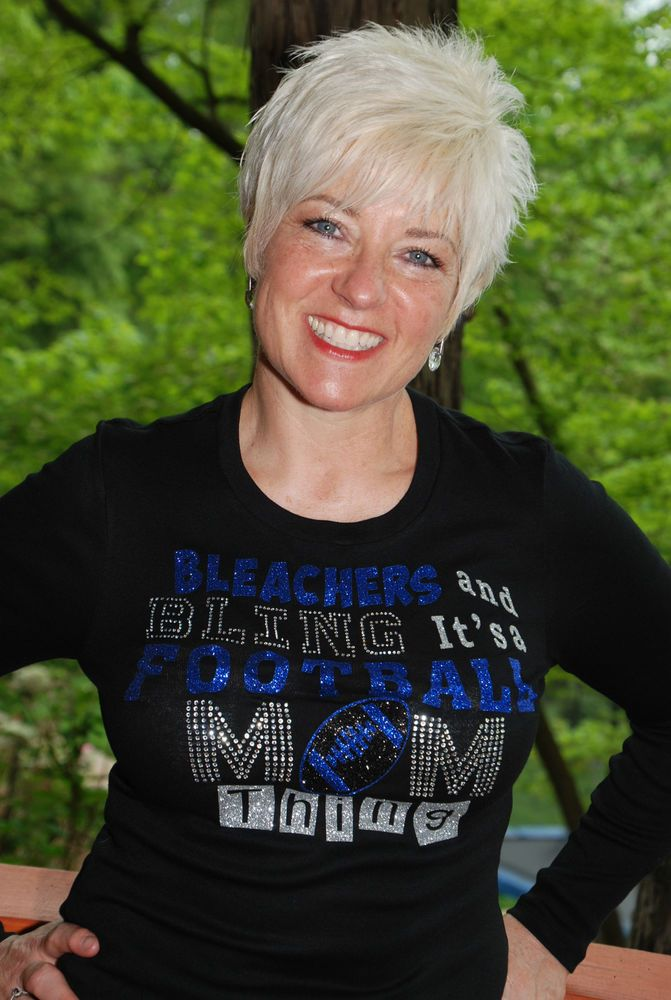Football Mom rhinestone bling shirt XS S M L XL 2X 3X 4X 5X Bleachers Bling blue #Customrhinestonedesign #Customrhinestonedesign