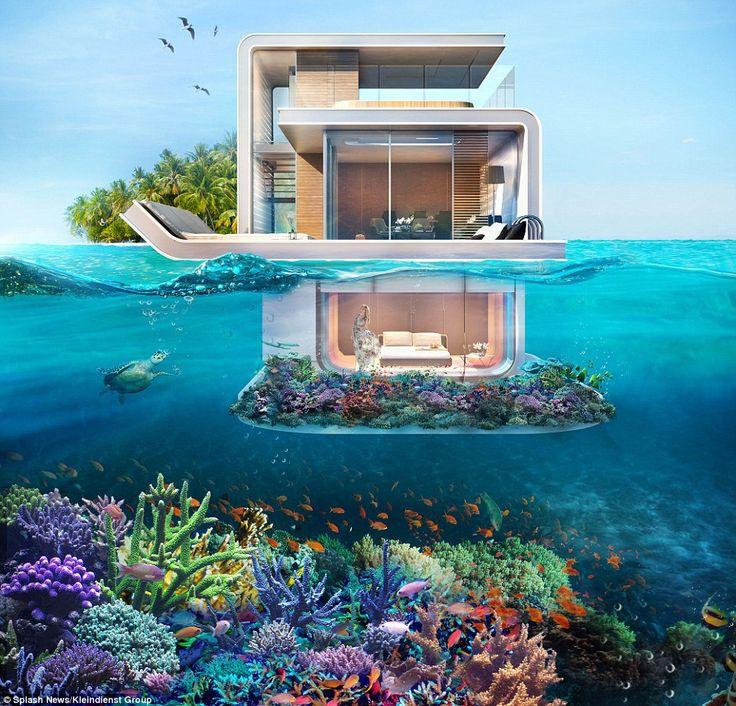 Com 3 andares de luxo, incluindo um que é completamente debaixo d'água, as casas são tecnicamente barcos sem propulsão, veja as fotos